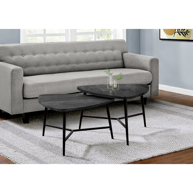 black and gray mid century coffee table pair rc willey furniture store