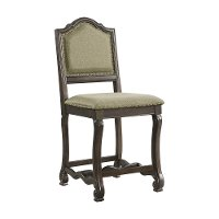 Traditional Chocolate Brown 24 Inch Upholstered Counter Height Stool - Cate