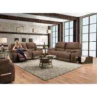 Espresso Brown Power Reclining Love Seat with Center Console - Explorer