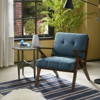 Mid Century Modern Blue Accent Chair with Exposed Wood Frame