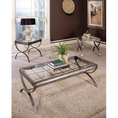Contemporary Glass and Metal Occasional Table Set - Emerson