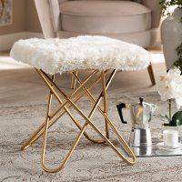 Glam White Faux Fur Upholstered Ottoman with Gold Finish - Jodene