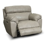 Putty Beige Lay Flat Leather Power Recliner - Costa