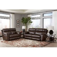 Chocolate Brown Lay Flat Leather Reclining Love Seat - Costa