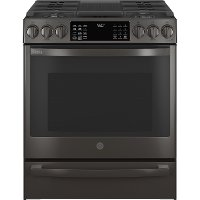 PGS930BPTS GE Profile 30 Inch Slide In Smart Gas Range with Convection - 5.3 cu. ft. Black Stainless Steel