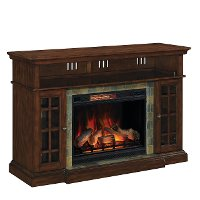 Cherry Brown Fireplace TV Stand with Slate Inlay - Lakeland