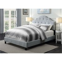 Light Gray Mist Queen Upholstered Bed - Modern Eclectic