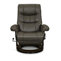 Iron Gray Leather Swivel Recliner - Flip-Up