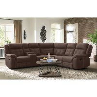 Brown 3 Piece Reclining Sectional with Console - Keystone