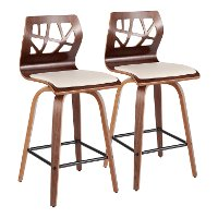 B26-FOLIAX WLCR2 Mid Century Modern Brown and Cream Counter Height Stool (Set of 2) - Folia