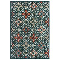 8 x 10 Large Blue and Orange Indoor-Outdoor Rug - Latitude