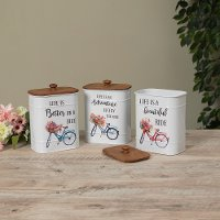 Assorted Metal Spring Design Canister with Wooden Lid