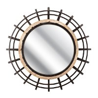 31 Inch Round Iron and Firwood Wall Mirror