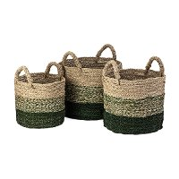 13 Inch Green and Light Brown Seagrass Basket with Handles