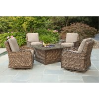 Wicker Style 5 Piece Patio Fire Pit Set with Sunbrella Fabric - Trenton