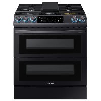 NY63T8751SG Samsung 30 Inch Dual Fuel Flex Duo Smart Range with SmartDial - 6.3 cu. ft., Black Stainless Steel