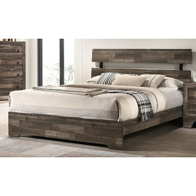 Rustic Contemporary Gray Twin Bed - Alix
