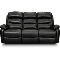 Black Leather Contemporary Power Reclining Sofa - Neff