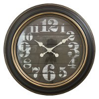 24 Inch Round Black Wall Clock with Golden Trim