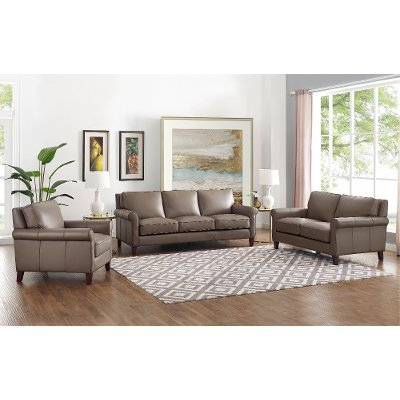 Classic Taupe Leather 4 Piece Living, Living Room Sets