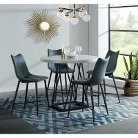 Contemporary Marble And Metal 5 Piece Counter Height Dining Set Rocco Rc Willey Furniture Store