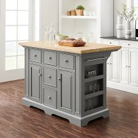 KF30025GY-NA Gray Kitchen Island With Wood Top- Julia