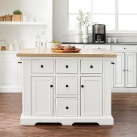 KF30025WH-NA White Kitchen Island With Wood Top-Julia