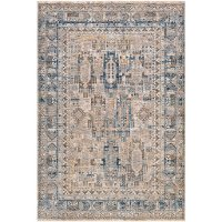 MBL2302-575 5 x 8 Medium Traditional Navy Denim and Cream Area Rug - Mirabel