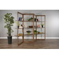 Transitional Brown Folding Bookcase - Doe Valley