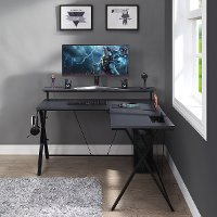 Black L-Shaped Gaming Desk with LED Lights - Checkpoint Battle Station