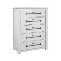 Distressed White Chest of Drawers - Modern Eclectic