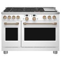 C2Y486P4TW2 Cafe Commercial Style Dual Fuel Double Oven Smart Range - 48 Inch Matte White