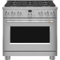 C2Y366T2TS1 Cafe 36 Inch Commercial Dual Fuel Oven Smart Range - Stainless Steel