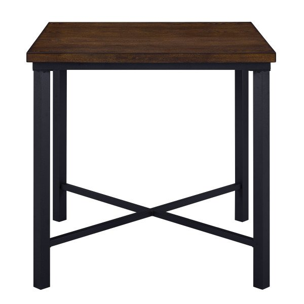 Attributes Wood and Metal Square Counter Height Dining Room Table