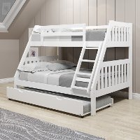 Classic White Twin over Full Bunk Bed with Trundle - Mission