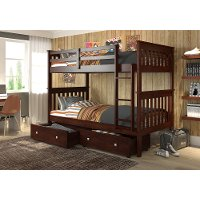 Dark Brown Twin-over-Twin Bunk Bed with Storage - Craftsman