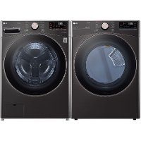 KIT LG Washer and Gas Dryer Black Stainless Steel - 4000