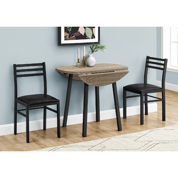 Taupe And Black 3 Piece Dining Room Set, Small Black Dining Table And Chairs
