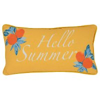 Yellow and Multi Color Hello Summer Indoor-Outdoor Throw Pillow