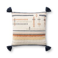 Magnolia Home Furniture Multi Color Throw Pillow with Blue Tassels