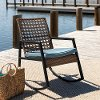 Modern Light Brown and Blue Rattan Patio Chair - Liza