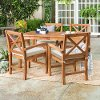 OW5XSDTBR 5 Piece Light Brown Rustic Patio Dining Set