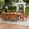 OW7TXVINBR Light Brown 7 Piece Patio Dining Set