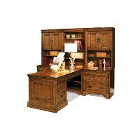 7 Piece Modular Chestnut Brown Wood Desk - Centennial