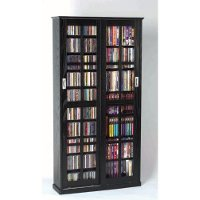Black 2 Piece CD-DVD Storage Cabinet With Sliding Doors