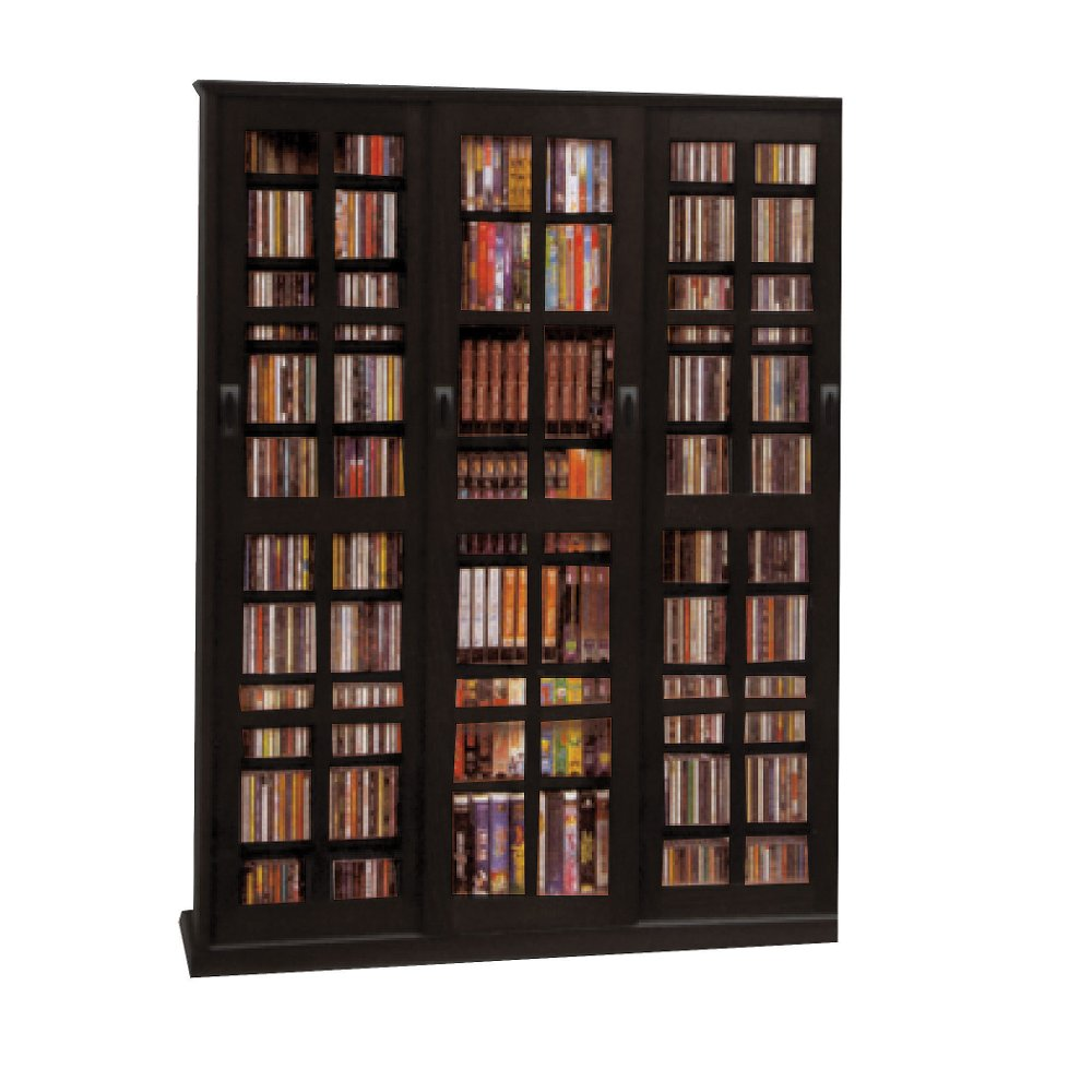 Black 2 Piece Cd Dvd Storage Cabinet With Sliding Doors Rc Willey