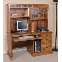 Rustic Light Brown Computer Desk with Hutch - Sedona