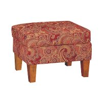 Red Paisley Upholstered Ottoman