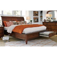 Classic Brown Cherry Queen Storage Bed - Cambridge
