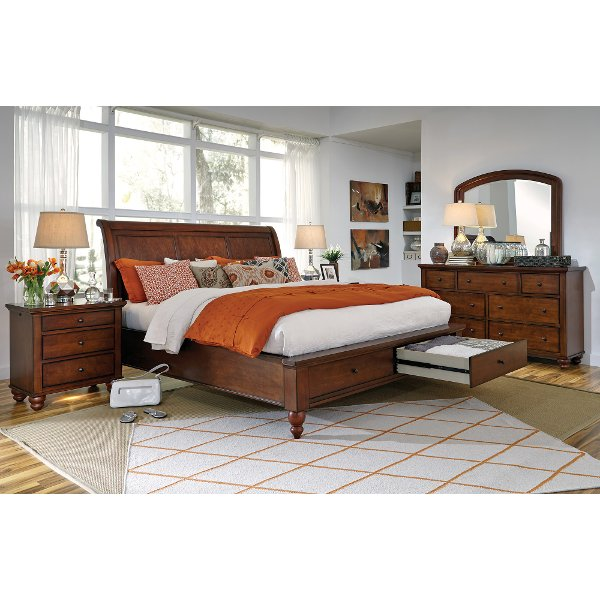 ... Brown Cherry Traditional 6 Piece King Bedroom Set   Cambridge